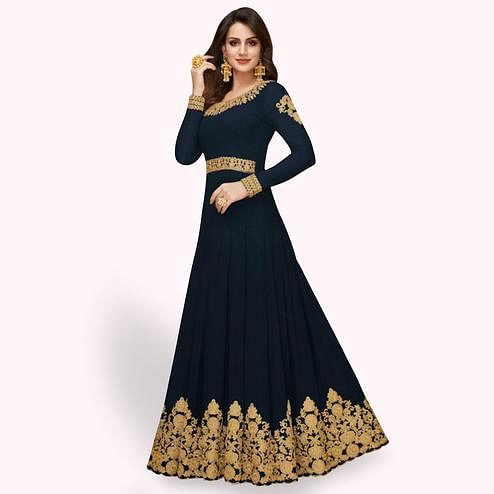 Sophisticated Navy Blue Colored Partywear Embroidered Faux Georgette Anarkali Suit