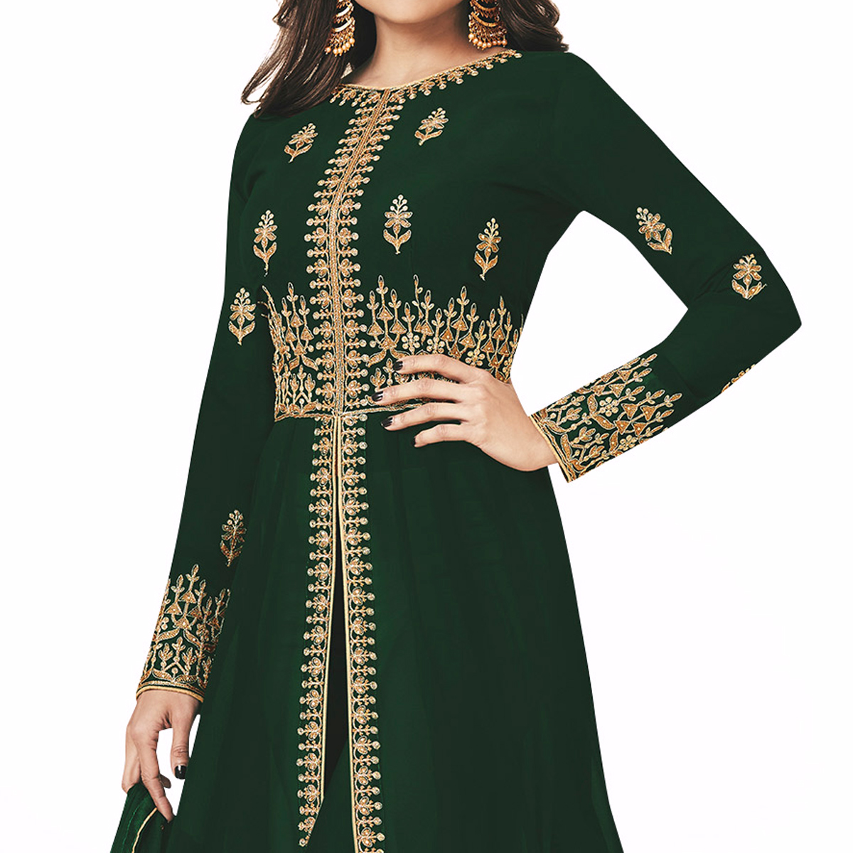 Classy Green Colored Partywear Embroidered Faux Georgette Anarkali Suit