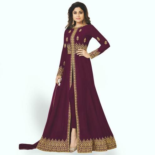 Opulent Purple Colored Partywear Embroidered Faux Georgette Anarkali Suit