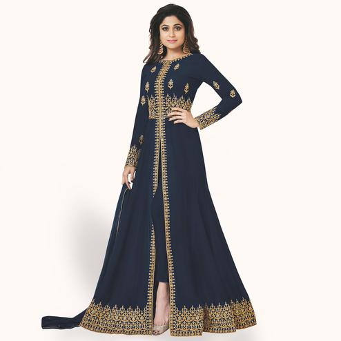 Impressive Navy Blue Colored Partywear Embroidered Faux Georgette Anarkali Suit