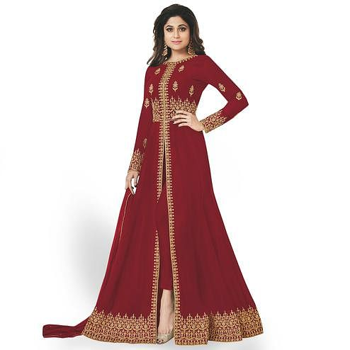 Desirable Red Colored Partywear Embroidered Faux Georgette Anarkali Suit