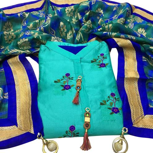 Refreshing Aqua Blue Colored Partywear Embroidered Cotton Dress Material