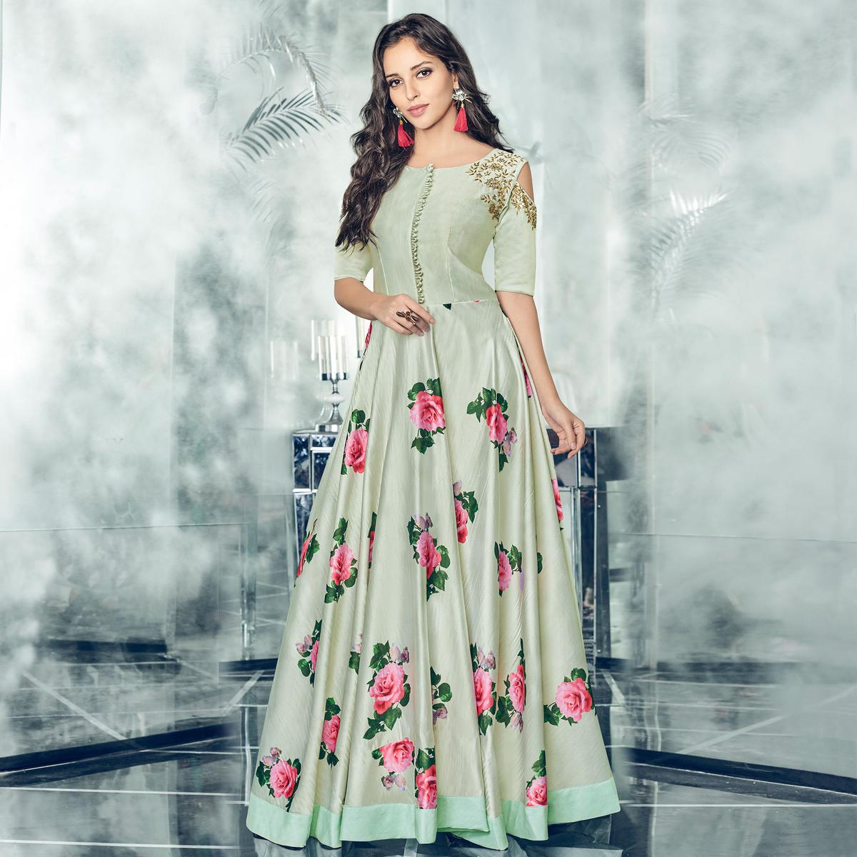 Adorning Light Green Colored Partywear Printed Satin Gown