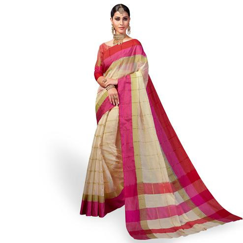Flattering Cream Colored Festive Wear Woven Cotton Silk Saree