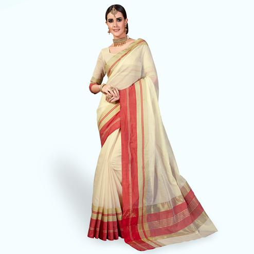 Excellent Cream Colored Festive Wear Woven Cotton Silk Saree