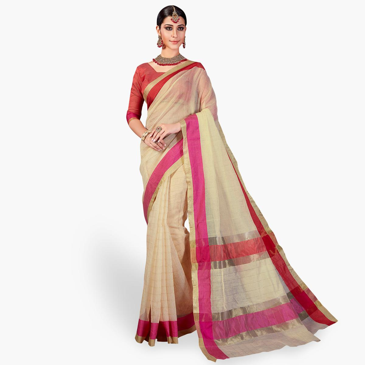 Preferable Cream Colored Festive Wear Woven Cotton Silk Saree
