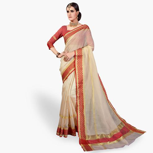 Marvellous Cream Colored Festive Wear Woven Cotton Silk Saree