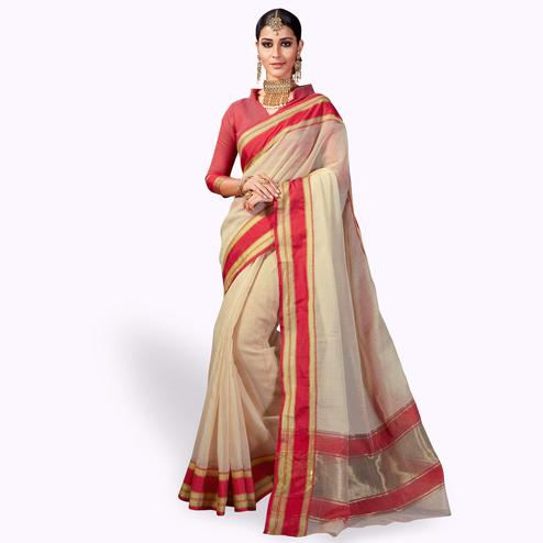 Flamboyant Cream Colored Festive Wear Woven Cotton Silk Saree