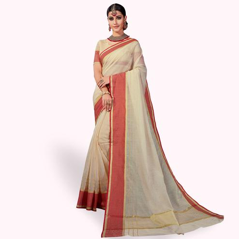 Pretty Cream Colored Festive Wear Woven Cotton Silk Saree