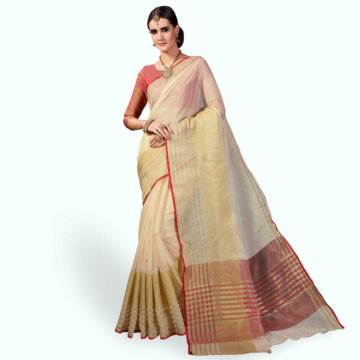 Alluring Cream Colored Festive Wear Woven Cotton Silk Saree