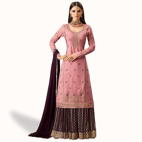 Elegant Light Pink Colored Partywear Embroidered Georgette Palazzo Suit