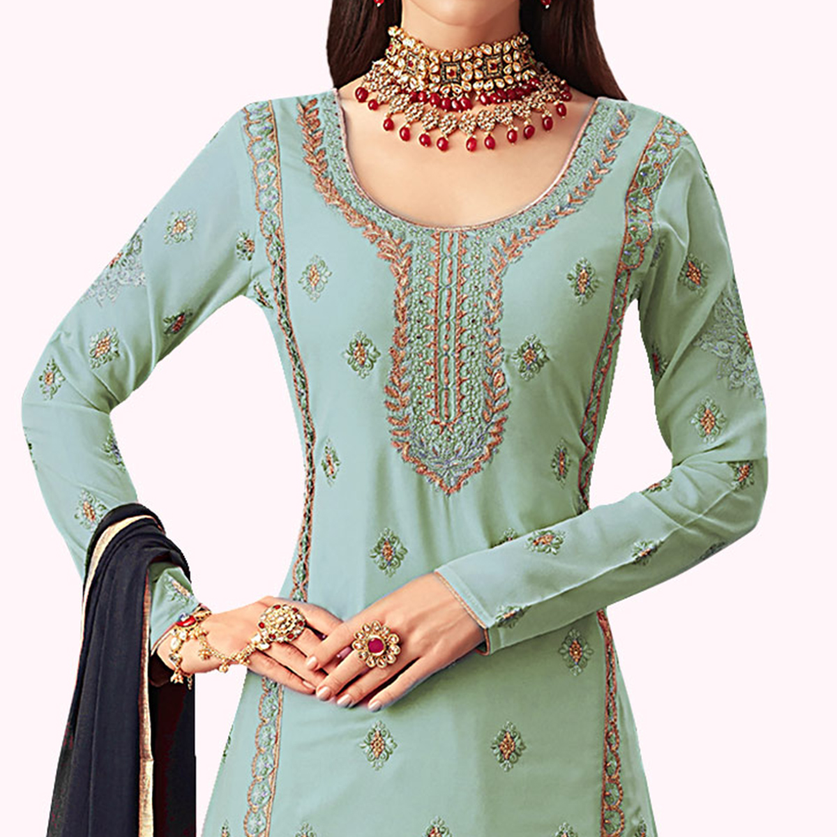 Radiant Pastel Blue Colored Partywear Embroidered Georgette Palazzo Suit