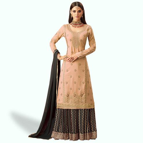 Pleasant Peach Colored Partywear Embroidered Georgette Palazzo Suit