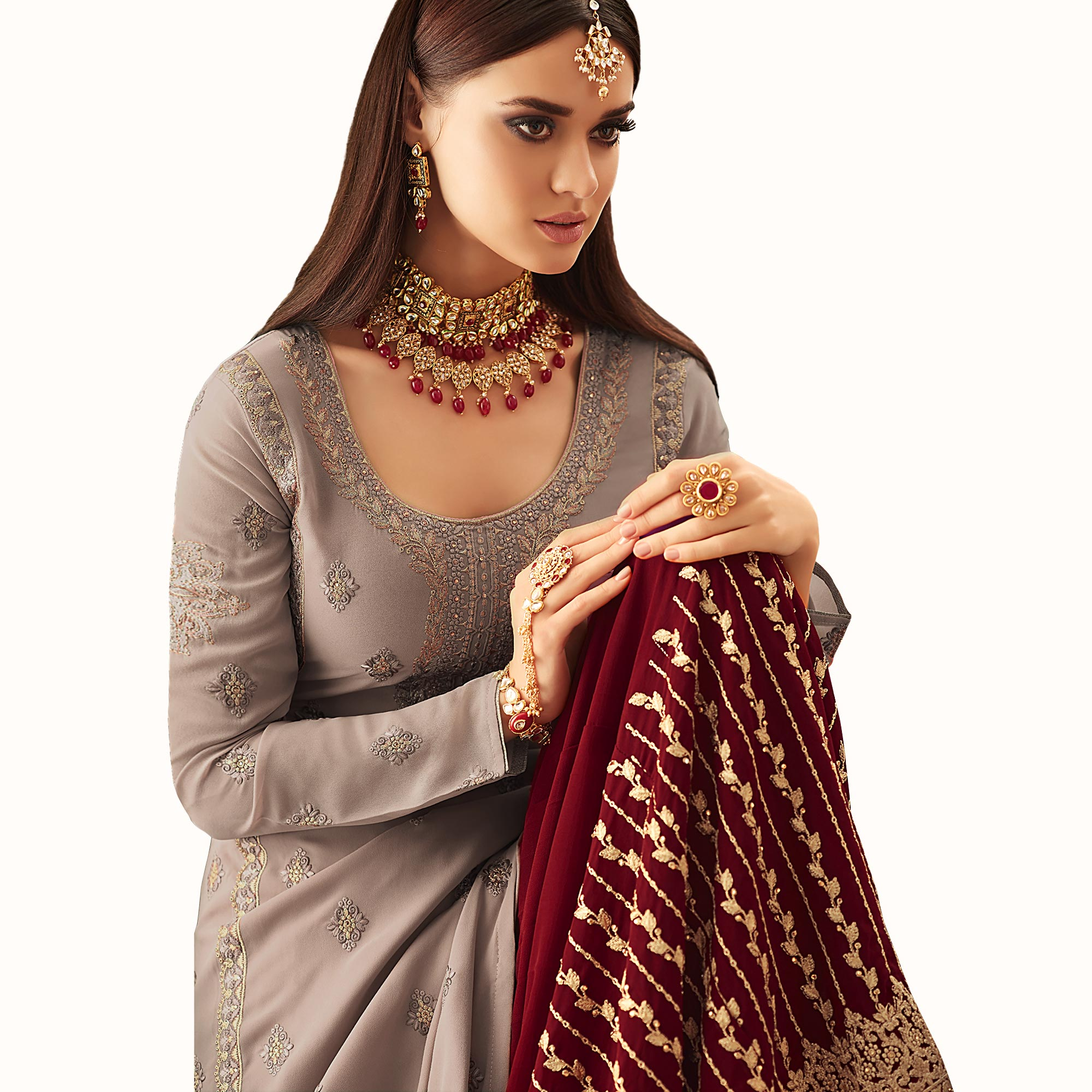 Opulent Rosy Brown Colored Partywear Embroidered Georgette Palazzo Suit