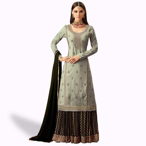 Energetic Slate Gray Colored Partywear Embroidered Georgette Palazzo Suit