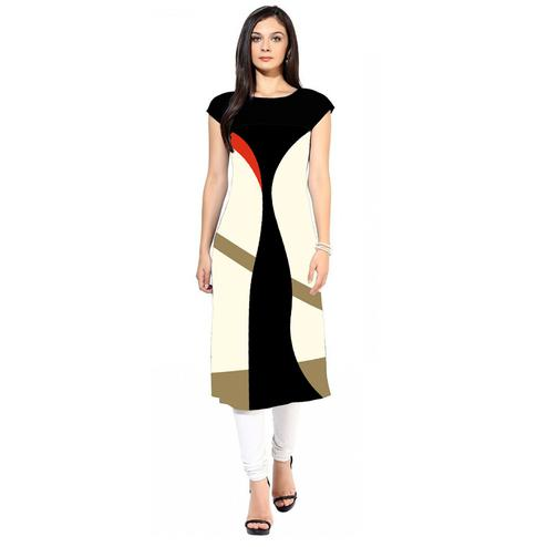 Beautiful White-Black Colored Casual Digital Printed Crepe Kurti