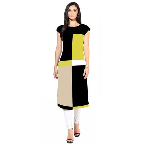 Graceful Yellow-Black Colored Casual Digital Printed Crepe Kurti