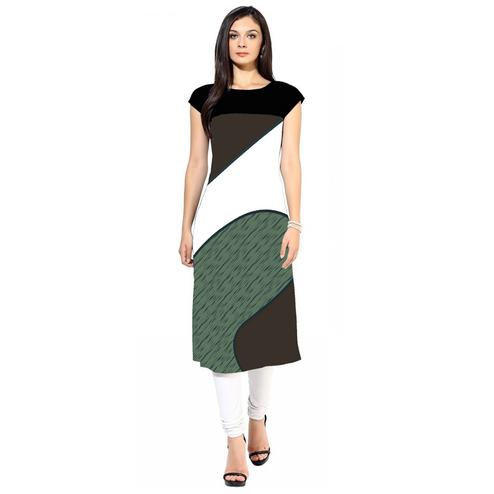 Blooming Multicolored Casual Digital Printed Crepe Kurti