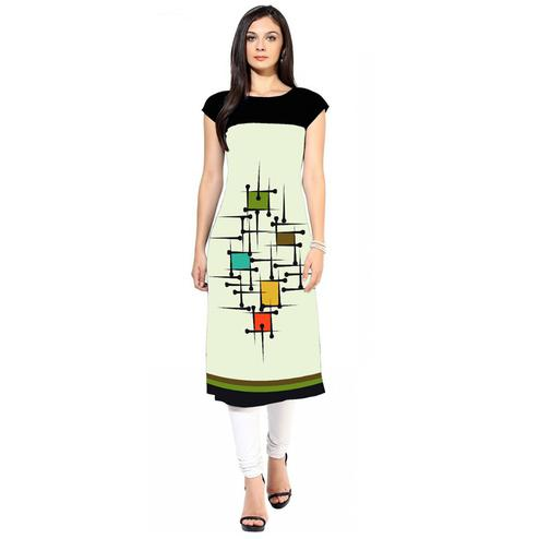 Charming White Colored Casual Digital Printed Crepe Kurti