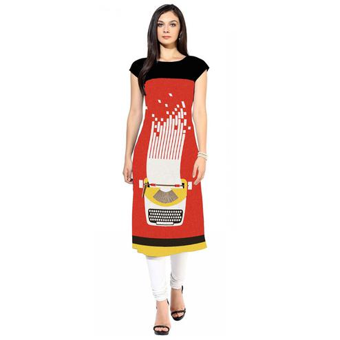 Jazzy Coral Red Colored Casual Digital Printed Crepe Kurti