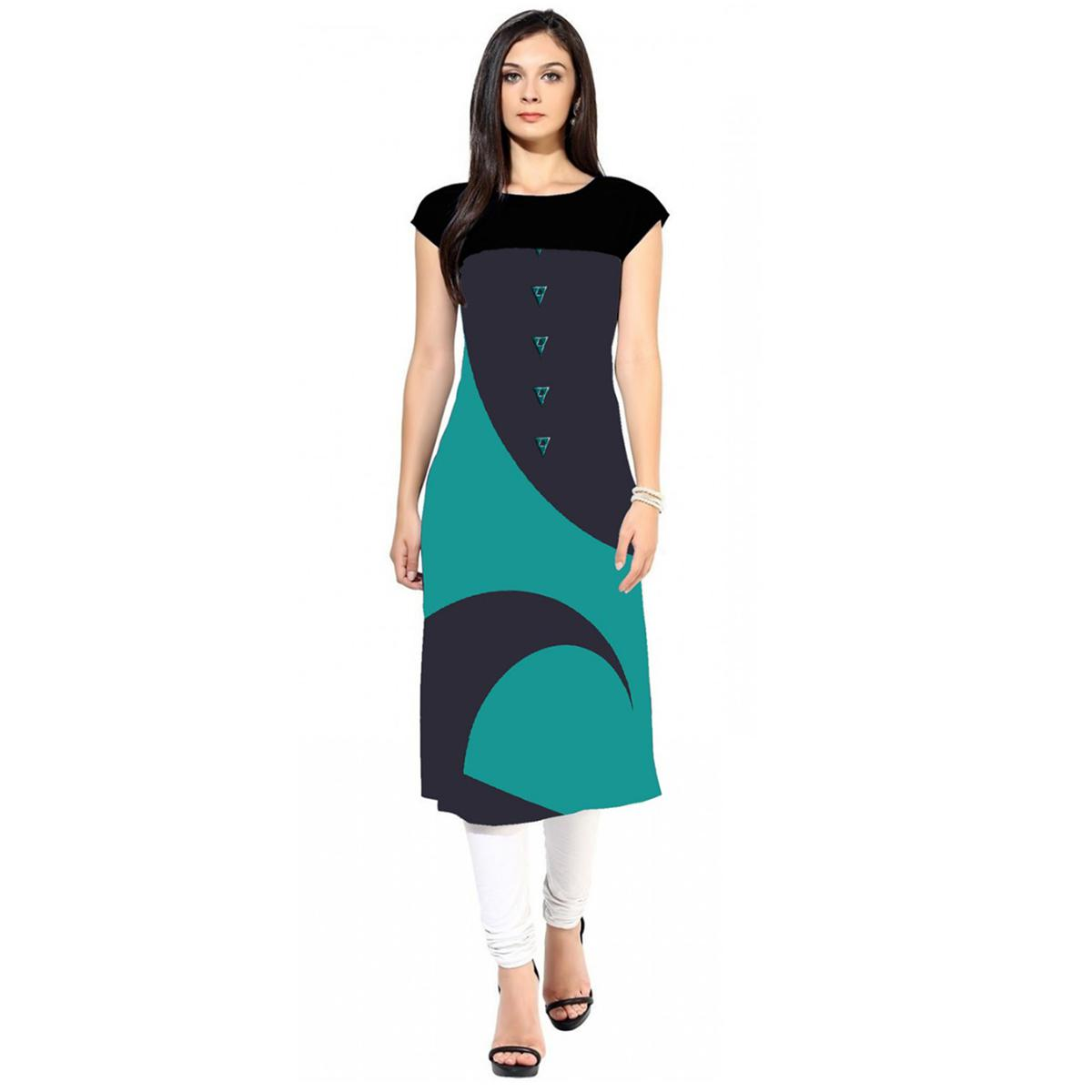 Delightful Navy Blue-Turquoise Green Colored Casual Digital Printed Crepe Kurti
