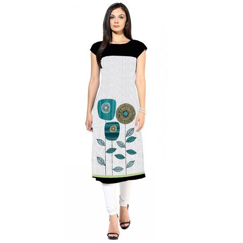 Engrossing White Colored Casual Digital Printed Crepe Kurti