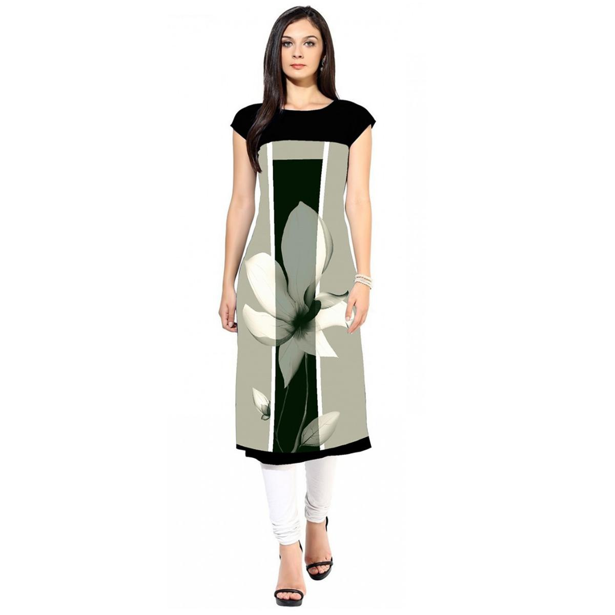 Captivating Light Gray Colored Casual Digital Printed Crepe Kurti