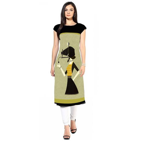 Innovative Pastel Green Colored Casual Digital Printed Crepe Kurti