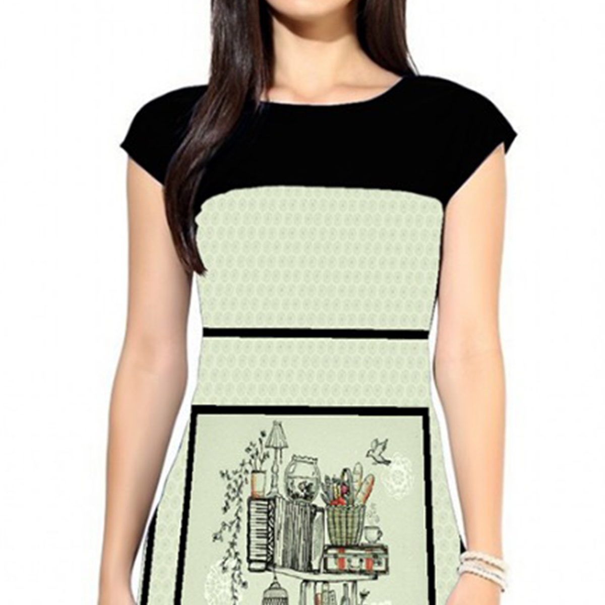 Fantastic Off White Colored Casual Digital Printed Crepe Kurti