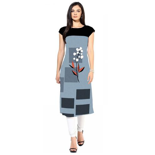 Amazing Gray Colored Casual Digital Printed Crepe Kurti