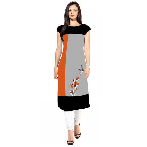 Gorgeous Gray-Orange Colored Casual Digital Printed Crepe Kurti
