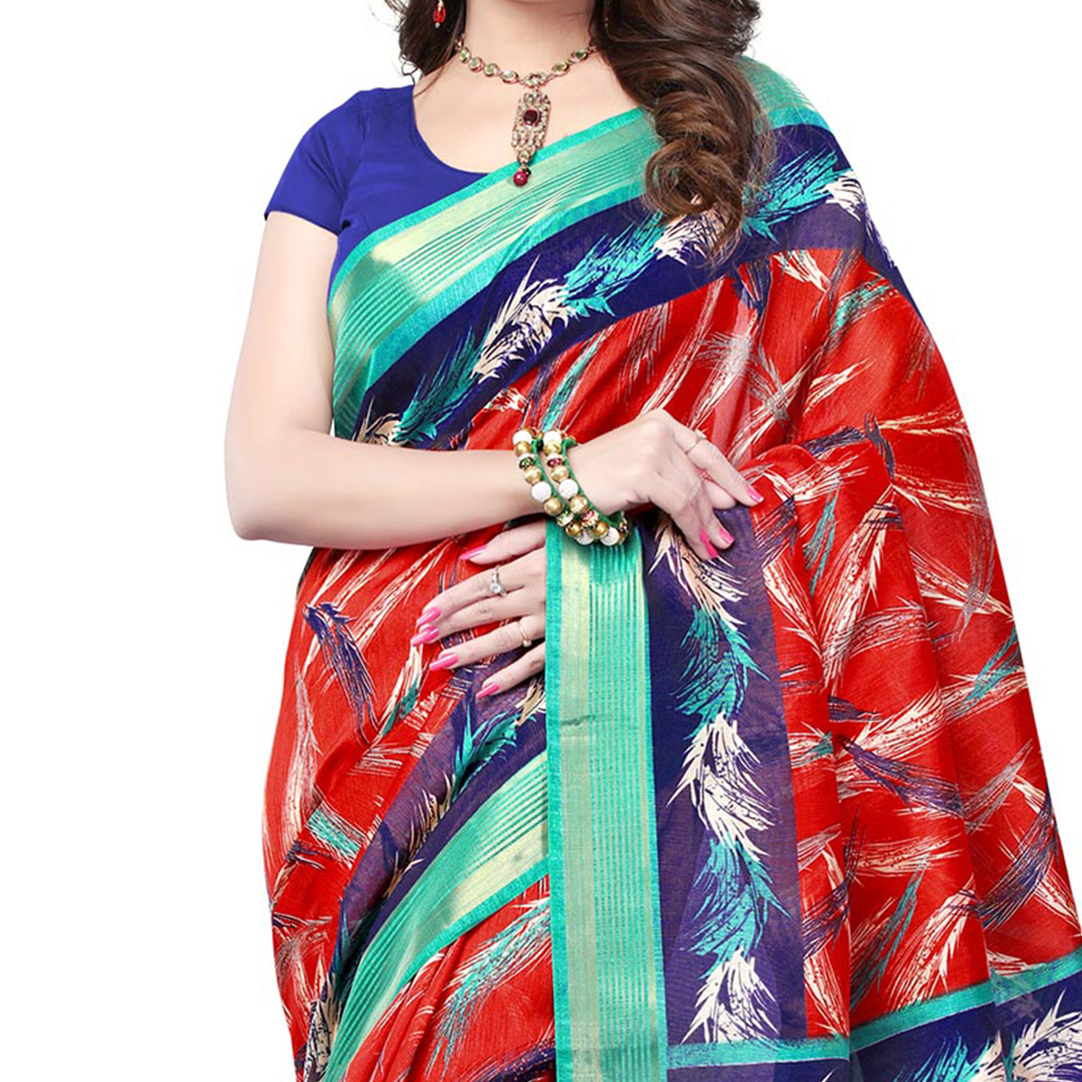 Red Cotton Saree with Woven Border
