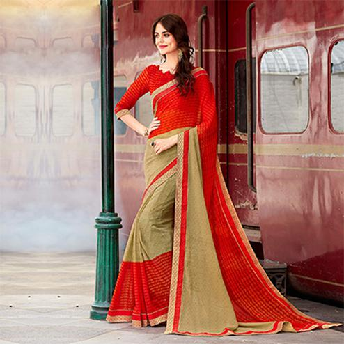 Beige-Orange Designer PartyWear Printed Georgette Saree