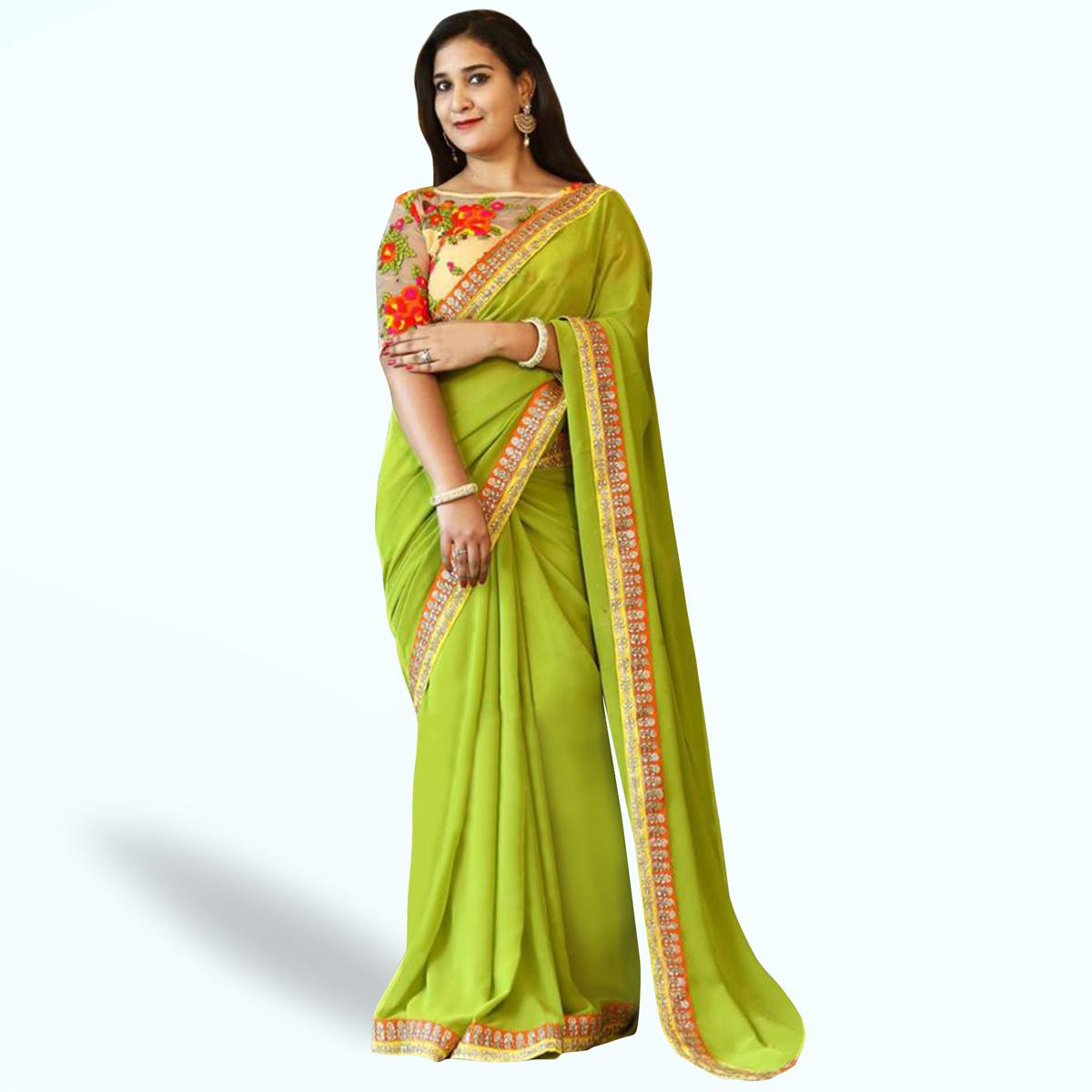Glorious Green Colored Partywear Embroidered Heavy Georgette Saree