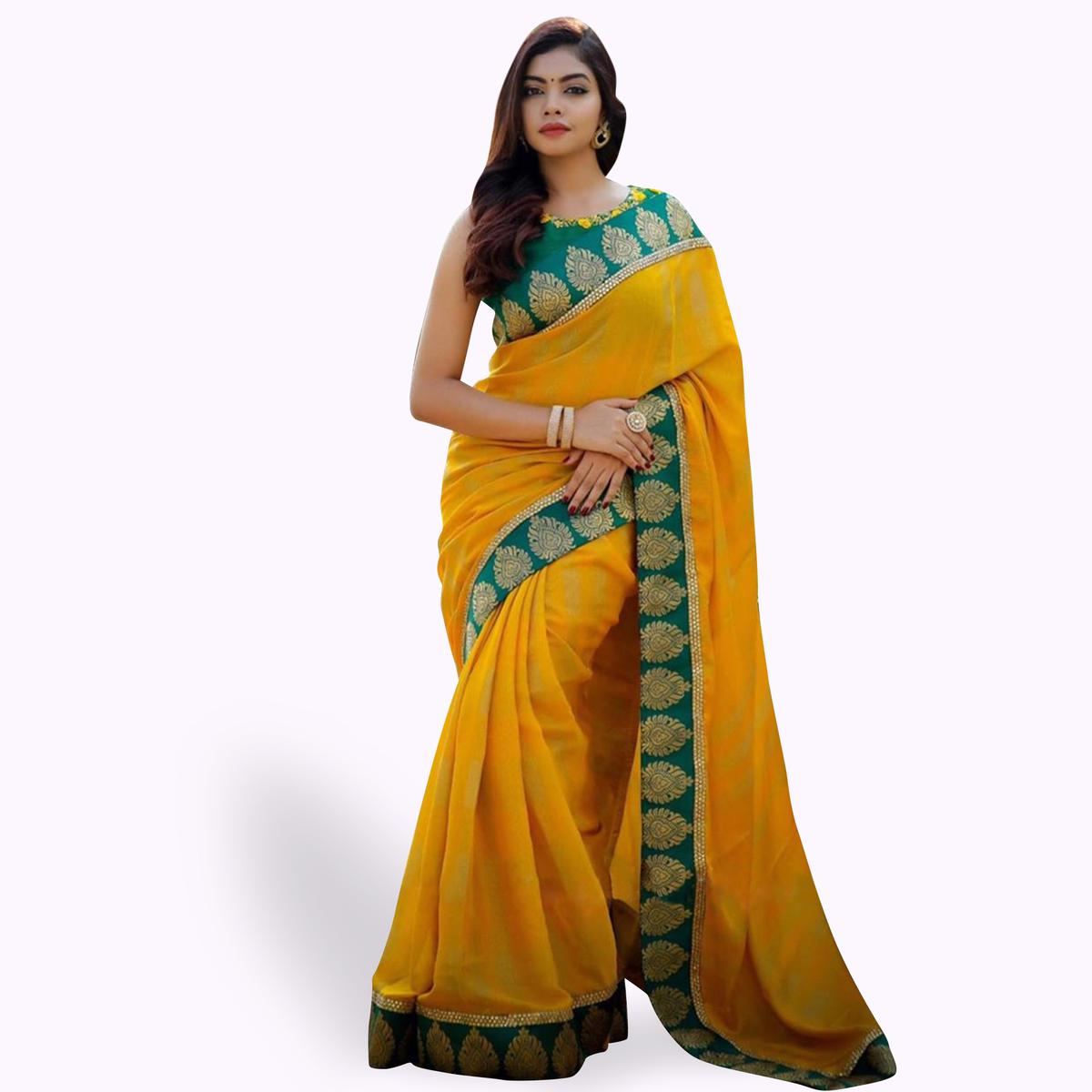 Attractive Yellow Colored Partywear Art Silk Saree