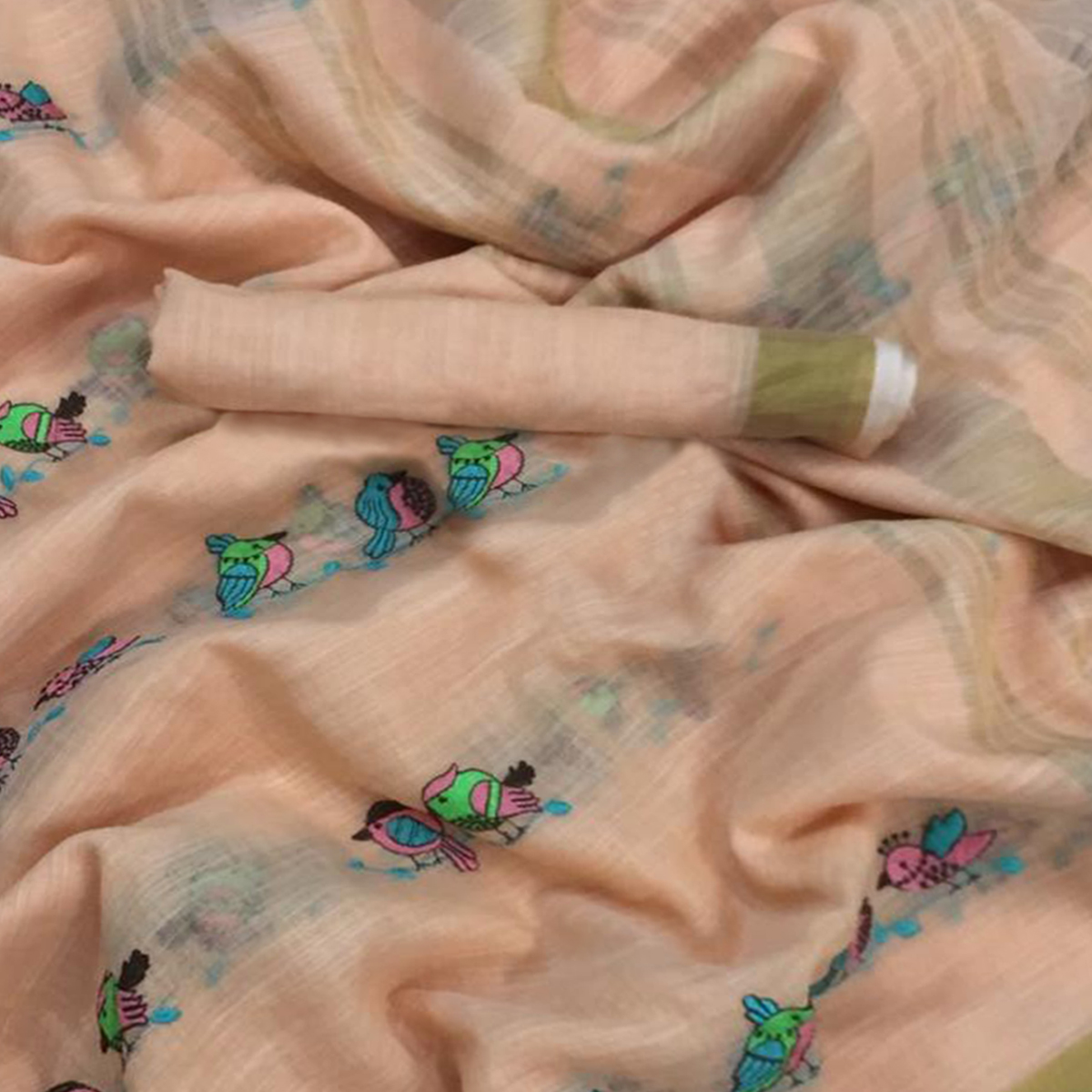 Graceful Peach Colored Embroidered Festive Wear Linen-Silk Saree