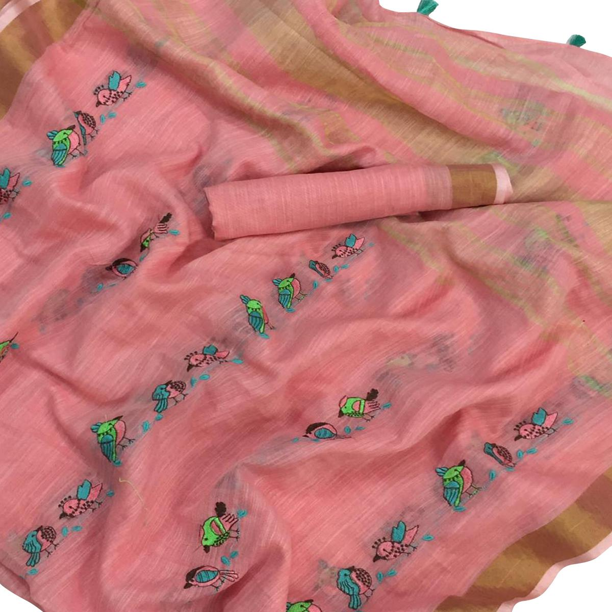Blooming Pink Colored Embroidered Festive Wear Linen-Silk Saree