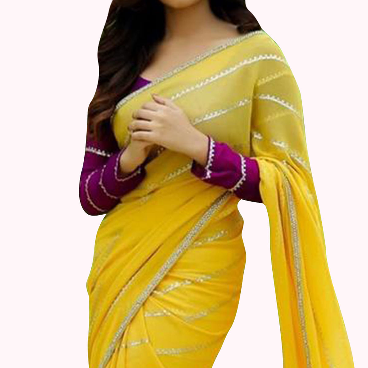 Jazzy Yellow Colored Partywear Georgette Saree