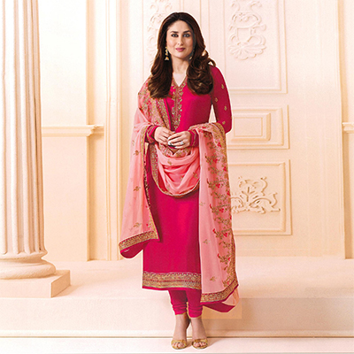 Pink Designer Embroidered Faux Georgette Straight Suit