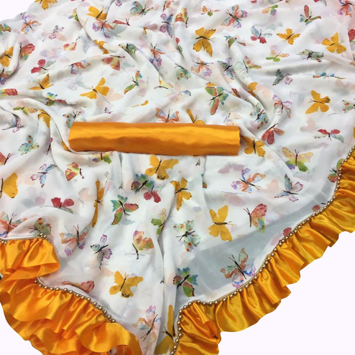 Captivating White-Yellow Colored Partywear Printed Georgette Saree