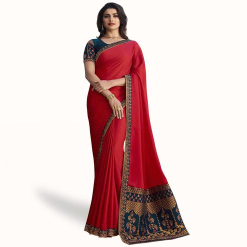 Fantastic Red Colored Partywear Embroidered Art Silk Saree