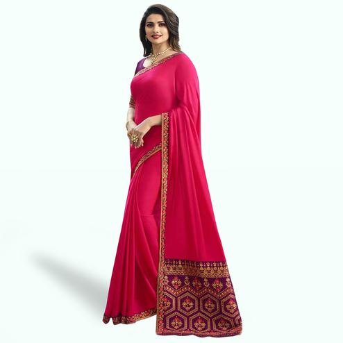 Amazing Hot Pink Colored Partywear Embroidered Art Silk Saree