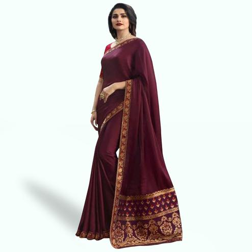 Gorgeous Dark Wine Colored Partywear Embroidered Art Silk Saree