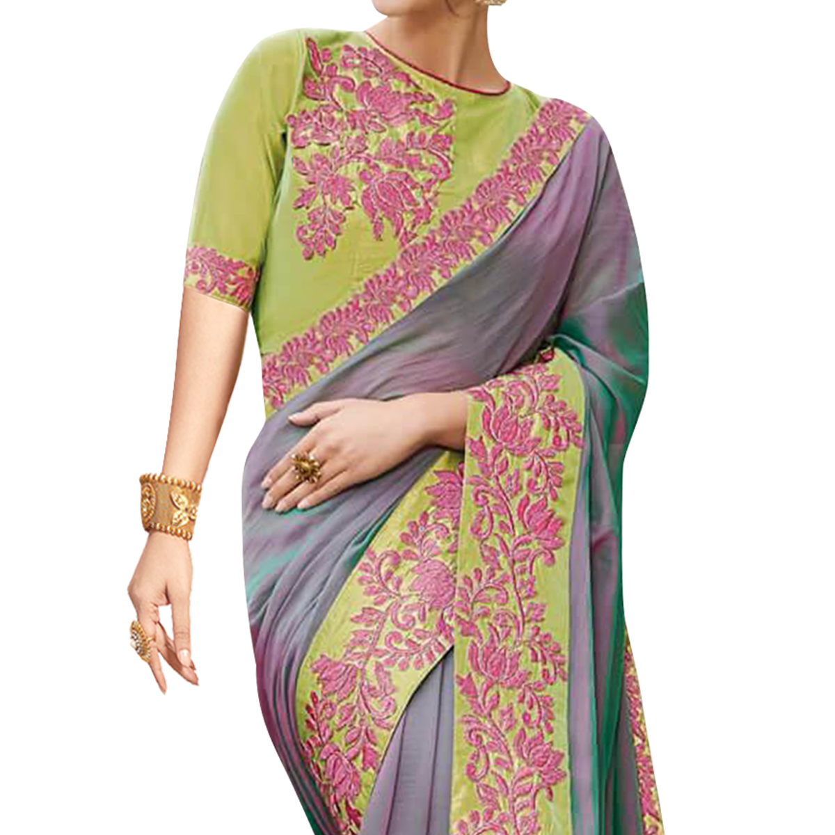 Blissful Lavender-Green Colored Partywear Embroidered Raw Silk Saree