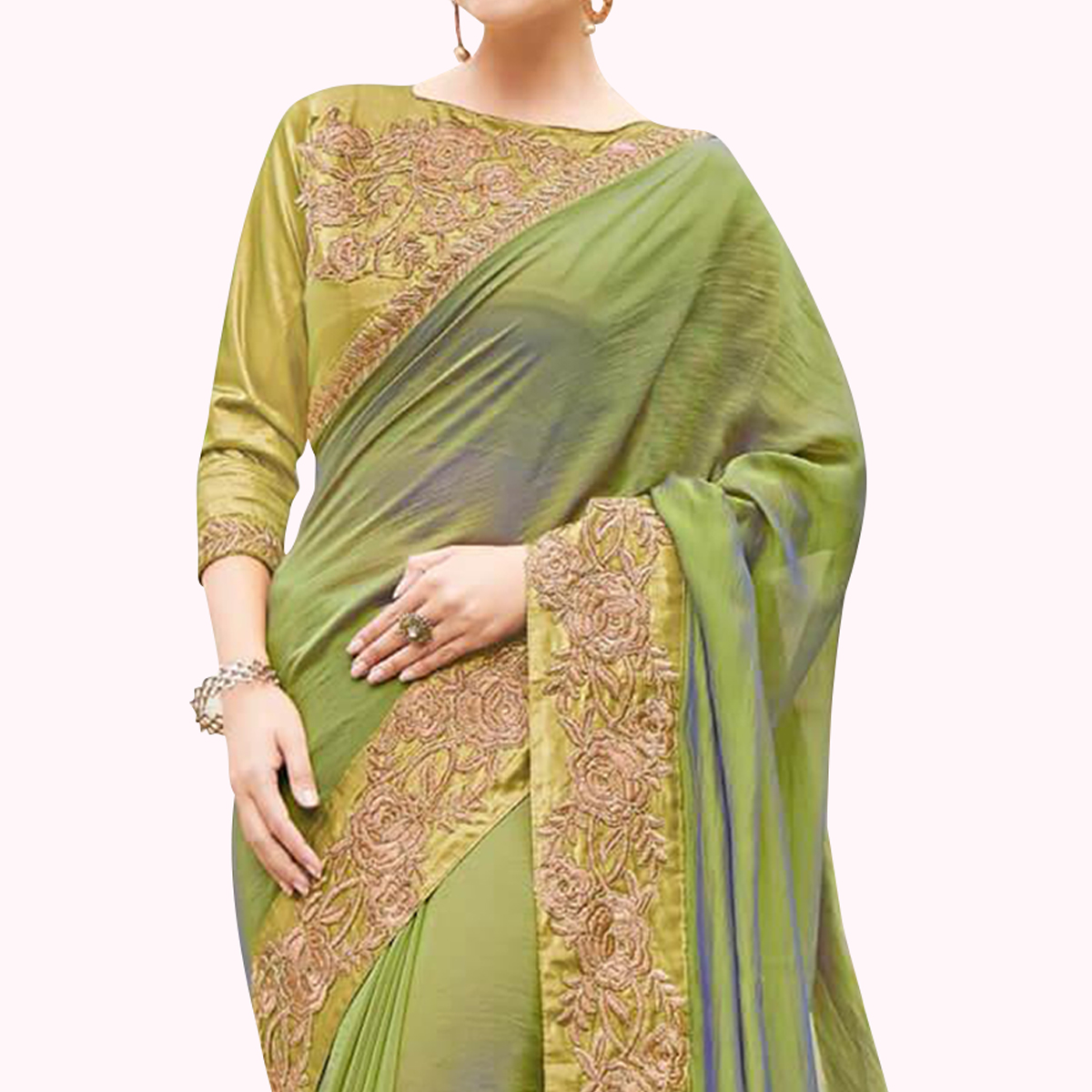 Majesty Green Colored Partywear Embroidered Raw Silk Saree