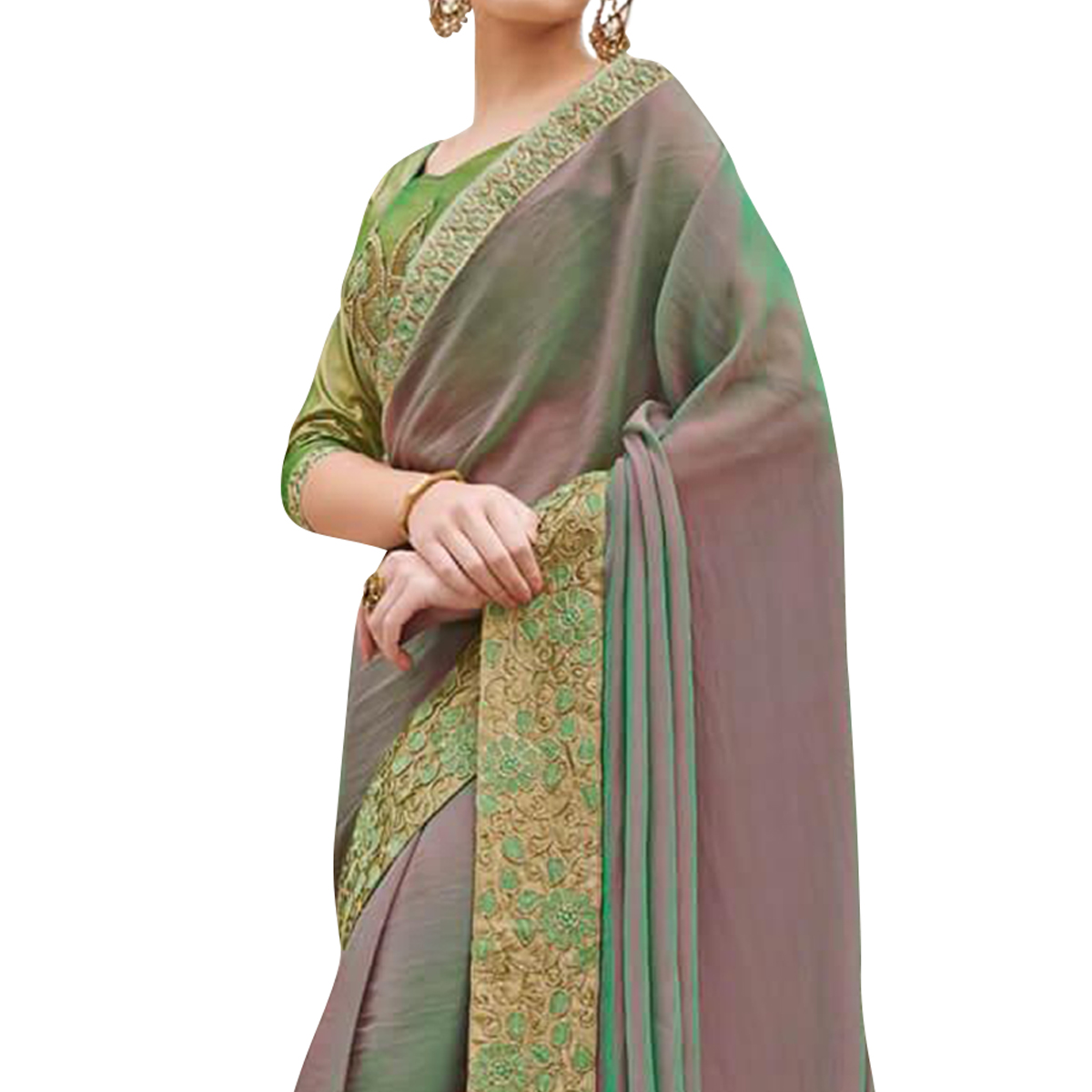 Impressive Green Colored Partywear Embroidered Raw Silk Saree
