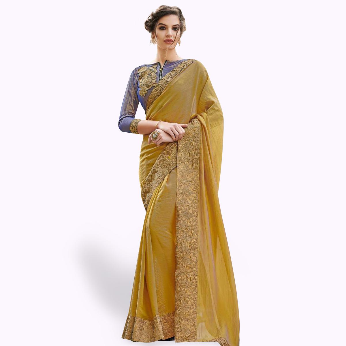 Pleasance Yellow Colored Partywear Embroidered Raw Silk Saree