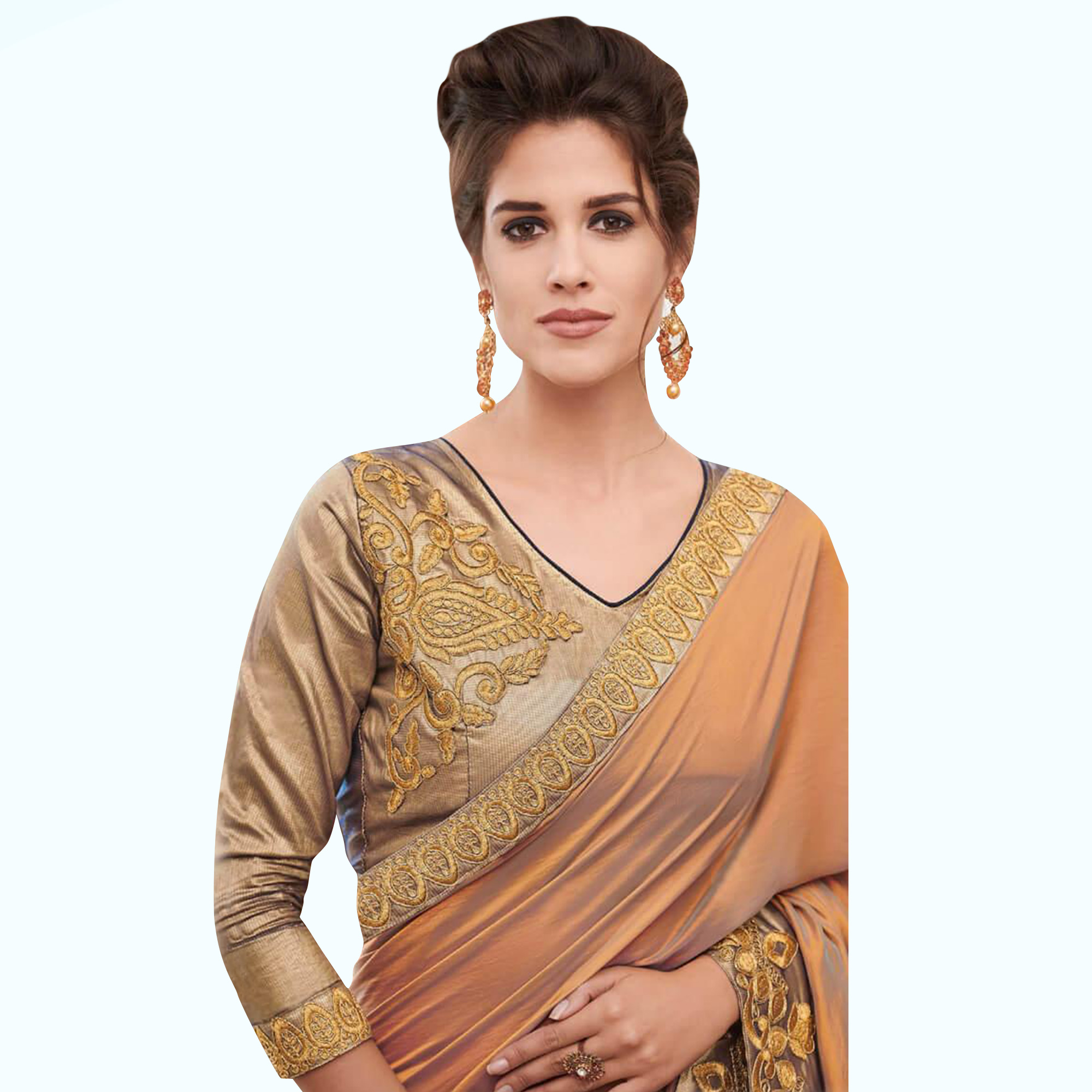 Breathtaking Orange Colored Partywear Embroidered Raw Silk Saree