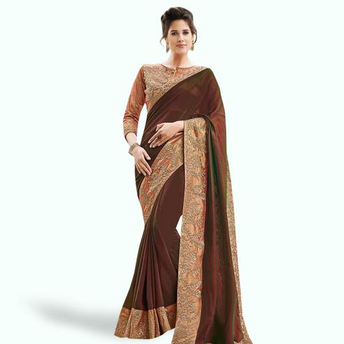 Ethnic Dark Brown Colored Partywear Embroidered Raw Silk Saree