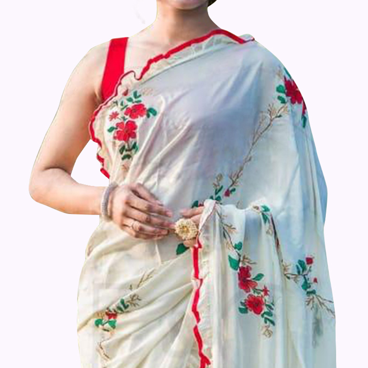 Ravishing Off White Colored Partywear Embroidered Georgette Saree